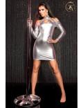 Серебристое платье с открытыми плечами KC168