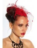 Красная шляпка с вуалью A2014 (502014) - оригинальная одежда, 2