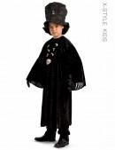 Детский черный балахон с широким рукавом (222006) - foto