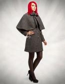 Демисезонное твидовое пальто с шалью (114036) - цена, 4