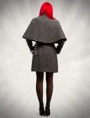 Демисезонное твидовое пальто с шалью (114036) - 3, 8
