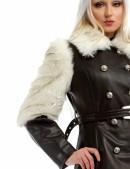 Зимнее кожаное пальто с мехом и поясом X-Style (115050) - 3, 8