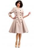 Пальто в стиле Ретро с меховой горжеткой (114042) - оригинальная одежда, 2