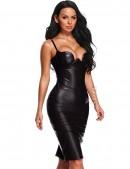 Кожаное платье с глубоким декольте XC53-09 (105309) - оригинальная одежда, 2