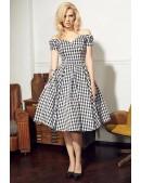 Клетчатое платье с открытыми плечами и поясом X5347 (105347) - foto