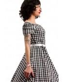 Клетчатое платье с открытыми плечами и поясом X5347 (105347) - оригинальная одежда, 2