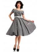 Клетчатое платье с открытыми плечами и поясом X5347 (105347) - материал, 6