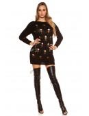 Рваный черный свитер-платье KouCla (105375) - материал, 6