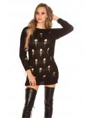 Рваный черный свитер-платье KouCla (105375) - 3, 8