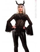 Ажурная черная блузка X1216
