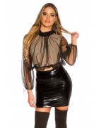 Укороченная блуза с прозрачным рукавом MF1222