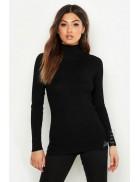 Черная водолазка-свитер X1017