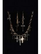 Колье и серьги с крестиками MF7004