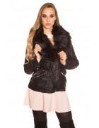 Зимняя кожаная куртка с мехом внутри и на воротнике