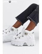 Белые кожаные кроссовки на массивной подошве M10627