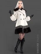Кашемировое пальто с кружевом и мехом