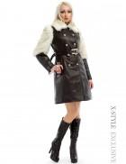 Зимнее кожаное пальто с мехом и поясом X-Style