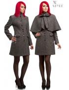 Твидовое пальто с шалью