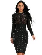 Бандажное черное платье XC307
