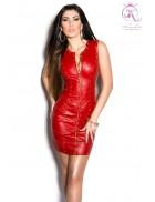 Красное шипованное платье под кожу