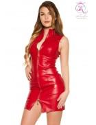 Красное кожаное платье на молнии KouCla