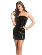 Блестящее черное мини-платье MF7161