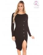 Вязаное черное платье с разрезом KC5374