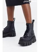 Черные кожаные ботинки на платформе NM083