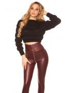 Укороченный женский черный пуловер MF1246