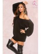 Черный свитер-платье на одно плечо KC1217