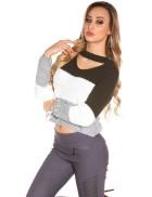 Женский трехцветный пуловер K194