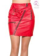 Красная кожаная юбка KouCla