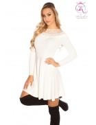 Зимнее белое платье клеш KC5378