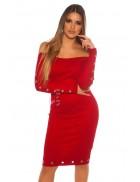 Красное платье миди с люверсами MF5452