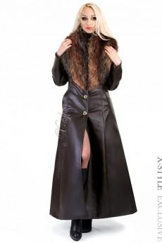 Длинное пальто с меховым воротником X-Style