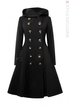 Зимнее шерстяное пальто с капюшоном X5052