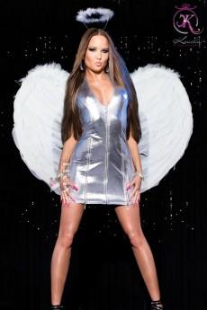 Глянцевое серебристое платье KouCla