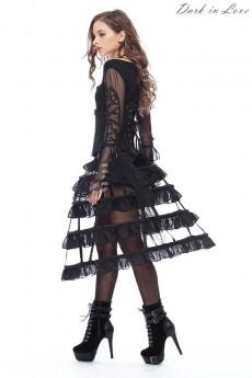 Каркасная черная юбка D7207