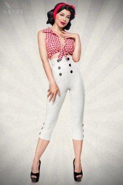 Белые брюки с высокой талией 057