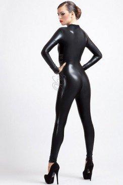 Черный кожаный кэтсьюит