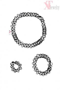 Ожерелье-чокер с браслетом и кольцом XJ7002