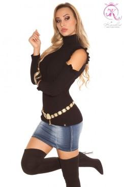 Водолазка-свитер с открытыми плечами