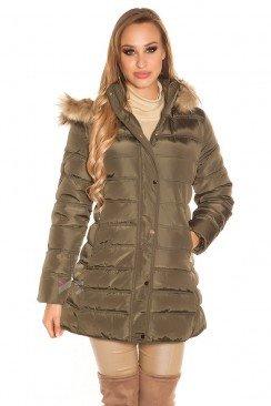Зимняя женская куртка цвета хаки MF2135