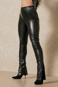Матовые кожаные леггинсы с разрезами на манжетах M311