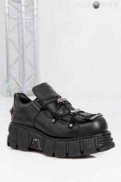 Черные кроссовки из натуральной кожи New Rock