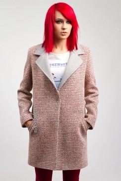 Демисезонное твидовое пальто X035