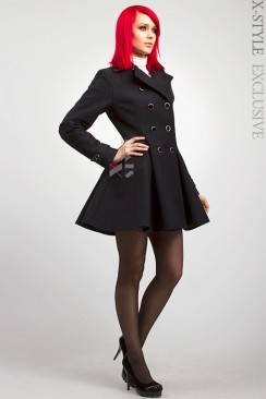 Двубортное расклешенное пальто X-038