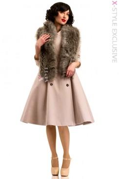 Пальто в стиле Ретро с меховой горжеткой