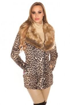 Леопардовое пальто со съемным мехом