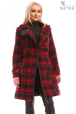 Пальто зимнее женское в клетку X5049